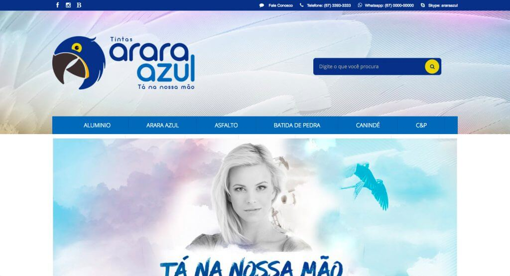 Arara Azul tintas layout personalizado e exclusivo loja integrada